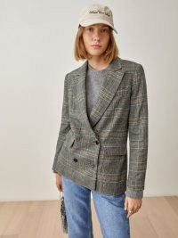 REFORMATION Winston Blazer in Grey Plaid / womens double breasted checked blazers / women's fashionable on-trend check print jackets