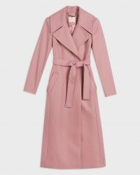 TED BAKER RROSIEY Wool coat with oversized collar ~ pink wrap coats with self tie waist belt ~ womens luxe autumn amd winter outerwear