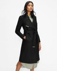 TED BAKER ROSE Wool wrap coat in Black ~ womens longline tie waist coats