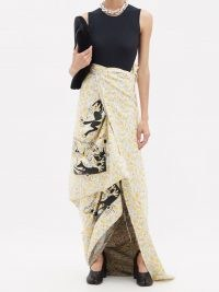 MATTY BOVAN Screen-printed floral cotton wrap skirt – chic maxi skirts