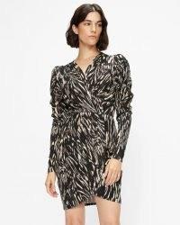 TED BAKER TILLLY Zebra stripe jersey mini dress / glamorous animal print wrap style dresses / 80s inspired fashion