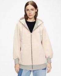 TED BAKER JOYDIV Zip Up Hoodie ~ womens pink hoodies ~ women's hooded zip front sports inspired jackets