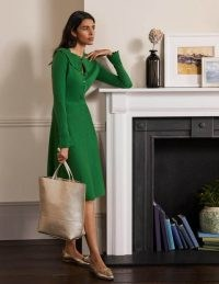 BODEN Abercorn Knitted Dress Conifer ~ green statement collar skater dresses