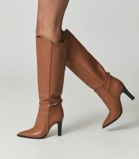 REISS ADA KNEE-HIGH LEATHER BOOTS TAN ~ light brown slim buckle detail boots ~ chic autumn and winter footwear