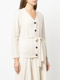 Adam Lippes cable knit brushed cashmere cardigan in ivory | front button tie waist cardigans | womens designer knitwear