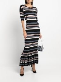 Adam Lippes Mermaid ruffle-hem striped knitted dress | chic striped flared hem dresses | womens designer knitwear fashion
