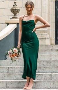 BEGINNING BOUTIQUE Adina Emerald Maxi Formal Dress ~ green strappy back cowl neck bridesmaid dresses