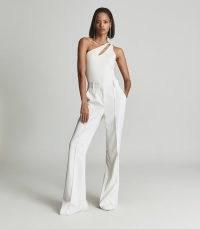 REISS ADRIENNE ONE SHOULDER JERSEY BOYSUIT CREAM ~ glamorous asymmetric cut-out bodysuits