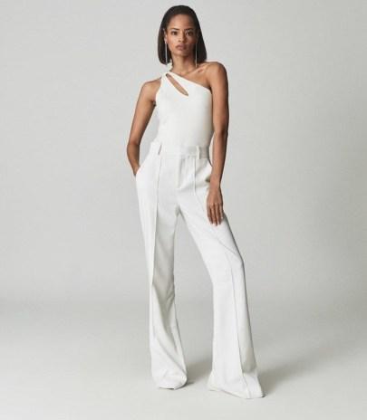 REISS ADRIENNE ONE SHOULDER JERSEY BOYSUIT CREAM ~ glamorous asymmetric cut-out bodysuits - flipped