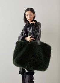 L.K. Bennett AISHA GREEN FAUX FUR OVERSIZED BAG – large fluffy luxe style bags – winter holdall tote bags