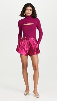 Aje Solitude Shorts in Carmine ~ womens luxe front pleated satin shorts
