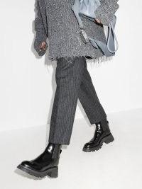 Alexander McQueen Wander Chelsea boots ~ womens designer chunky heel outerwear ~ women's on-trend black leather boots