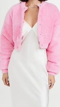 alexanderwang.t Long Sleeve Crew Cardigan in Prism Pink ~ fluffy cropped brushed knit cardigans