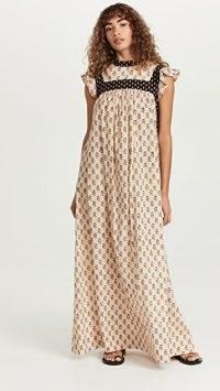 Alix of Bohemia Hollis Bhutti Dress / floral print ruffle shoulder maxi dresses