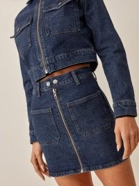 REFORMATION Anna Patch Pocket Denim Mini Skirt in Amani ~ blue zip front regenerative cotton skirts ~ cool sustainable fashion