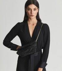 REISS ASTRID BEAD EMBELLISHED CLUTCH BLACK ~ shimmering beaded gold-tone chain strap evening bags