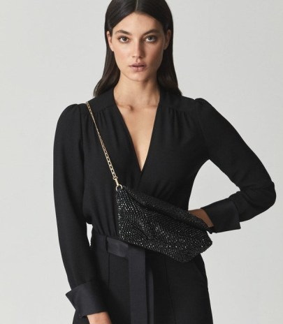 REISS ASTRID BEAD EMBELLISHED CLUTCH BLACK ~ shimmering beaded gold-tone chain strap evening bags - flipped