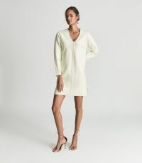 AVA HERRINGBONE KNIT COTTON MINI DRESS CREAM | chic knitted V-neck dresses | dress up or down fashion | sports luxe clothing