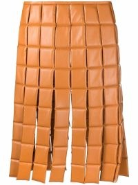 A.W.A.K.E. Mode square grid fringed skirt in ginger orange | retro padded skirts | vintage style fashion