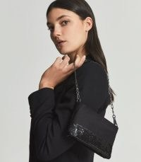 REISS AZURE EAST WEST BEAD EMBELLISHED BOTTOM CLUTCH BLACK ~ glamorous evening bags ~ occasion glamour