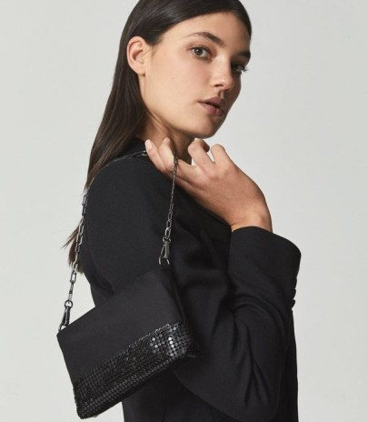 REISS AZURE EAST WEST BEAD EMBELLISHED BOTTOM CLUTCH BLACK ~ glamorous evening bags ~ occasion glamour - flipped
