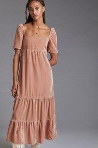 Anthropologie Velvet Empire Waist Midi Dress in Rose – romantic light pink tiered hem dresses