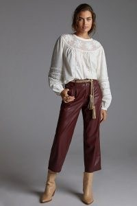 Pilcro The Breaker Cropped Faux Leather Trousers in Wine – luxe style crop leg trousers