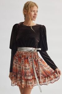 Sunday in Brooklyn Puff-Sleeved Velvet Top in Wine – feminine party tops – glamorous evening fashion