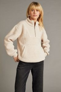Anthropologie Taylor Sherpa Half-Zip Jumper in Cream – faux shearling pullover tops – womens high neck fleece jumpers