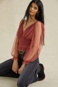 Anthropologie Tulle Blouse in Wine – sheer balloon sleeve blouses – feminine bohemian inspired tops