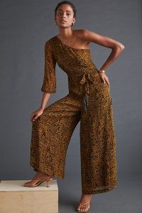 Ollari Paisley One-Shoulder Jumpsuit – asymmetric wide leg jumpsuits – glamorous evening all-in-one clothing