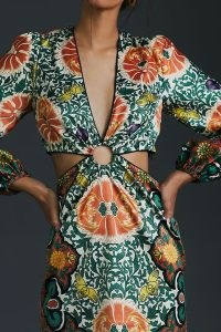 Let Me Be Floral Cut-Out Mini Dress – retro fashion – vintage style cut out dresses – bold prints