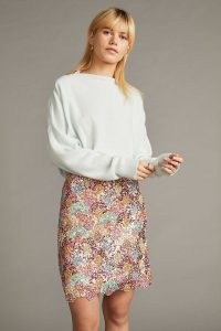 Anthropologie Sequinned Mini Skirt in Pink – multicoloured sequin embellished skirts – scalloped hem
