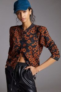 Corey Lynn Calter Floral Padded Cardigan ~ floral bomber jacket inspired cardigans