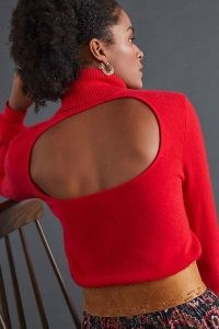 Maeve Cashmere Turtleneck Jumper in Red – vibrant cut out high neck jumpers – open back sweaters