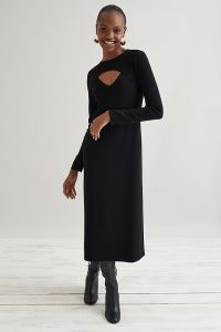 Dolan Knitted Cut-Out Midi Dress Black – front cut out LBD – chic long sleeve cutout dresses