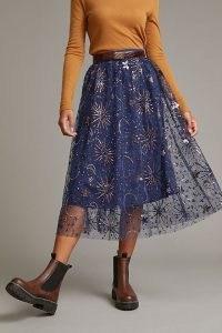 Anthropologie Celestial Tulle Midi Skirt – night sky inspired sequinned skirts – semi sheer sequin embellished fashion – romantic stars and moon embellishments