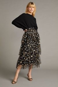 Anthropologie Star-Print Mesh Midi Skirt – tiered sheer overlay skirts – feminine celestial inspired fashion