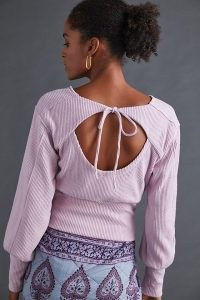 ANTHROPOLOGIE Puff-Sleeved Open-Back Top ~ lavender cut out tie back tops