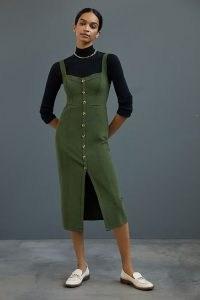 Maeve Knit Midi Dress in Moss ~ green sleeveless sweetheart neckline dresses