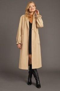 ANTHROPOLOGIE Gathered-Cuff Single-Breasted Coat in Neutral ~ ruffle cuff coats