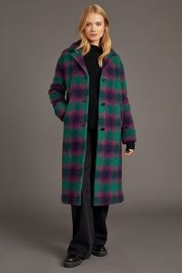 ANTHROPOLOGIE Check-Print Single-Breasted Coat in Pink ~ green & pink checked winter coats