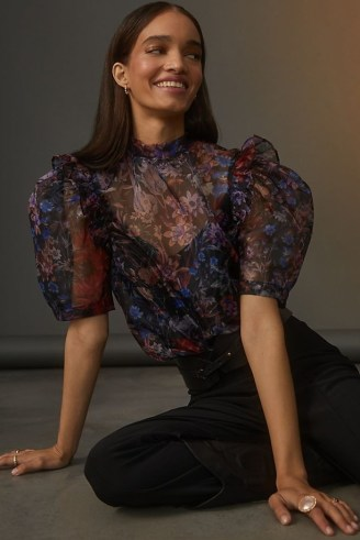 Maeve Puff-Sleeved Organza Blouse Black Motif – romantic puff sleeve blouses – sheer floral print tops - flipped