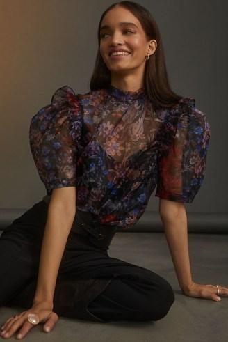 Maeve Puff-Sleeved Organza Blouse Black Motif – romantic puff sleeve blouses – sheer floral print tops