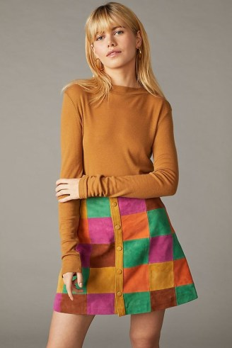 Anthropologie Suede Patchworked Mini Skirt – vintage style A-line patchwork skirts – retro fashion - flipped
