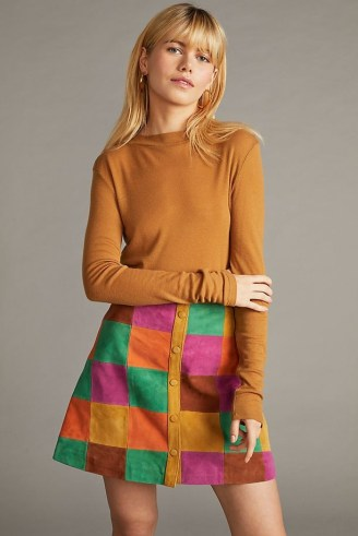 Anthropologie Suede Patchworked Mini Skirt – vintage style A-line patchwork skirts – retro fashion