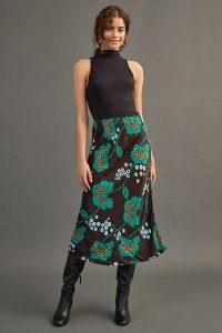 Maeve Satin Bias-Cut Midi Skirt / feminine floral print skirts