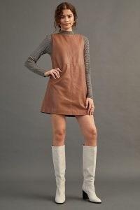 ANTHROPOLOGIE Leather Shift Mini Dress ~ brown sleeveless dresses ~ retro fashion