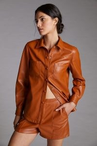 ANTHROPOLOGIE Faux-Leather Short Set in Brown ~ shirt and shorts sets ~ womens luxe style fashion co-ords