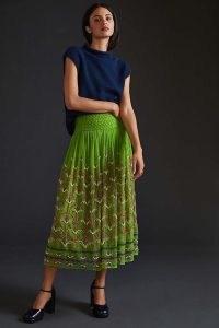 ANTHROPOLOGIE Beaded Tulle Midi Skirt in Green ~ bead embellished net overlay skirts